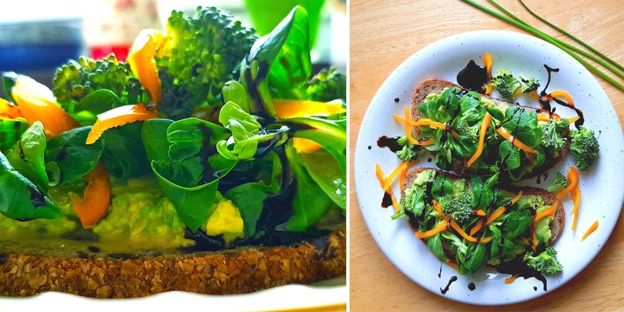 Avokadomacka med broccoli och mâchesallad